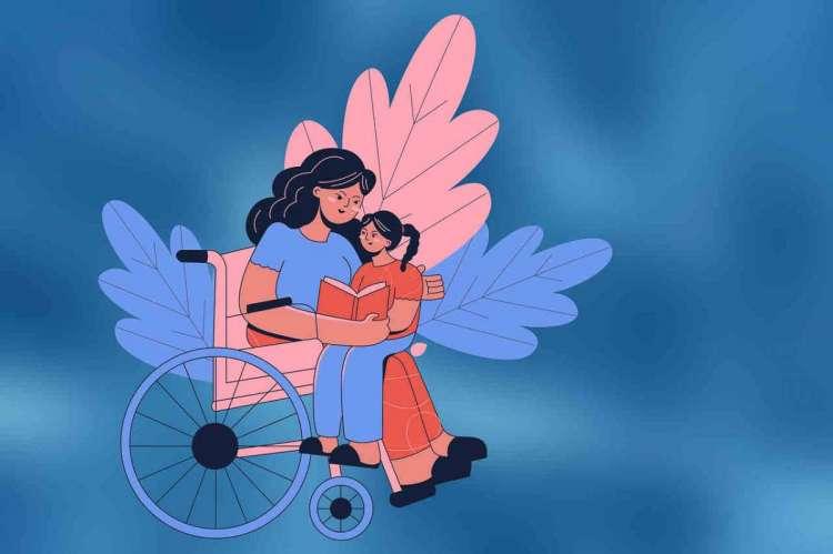 Dibujo persona silla ruedas abrazando niño