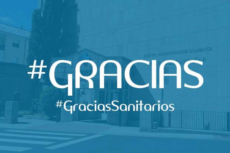 Composición letras #Gracias sobre hospital de Béjar. #graciassanitarios