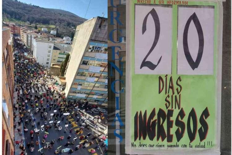 Concentración frente al hospital junto a un cartel que contabiliza los días que se llevan sin realizar ingresos en Béjar