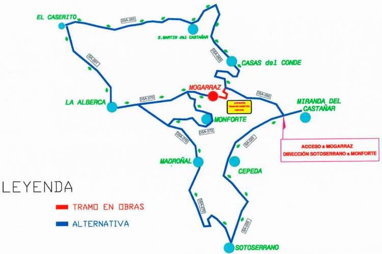 Mapa de carreteras con recorridos alternativos