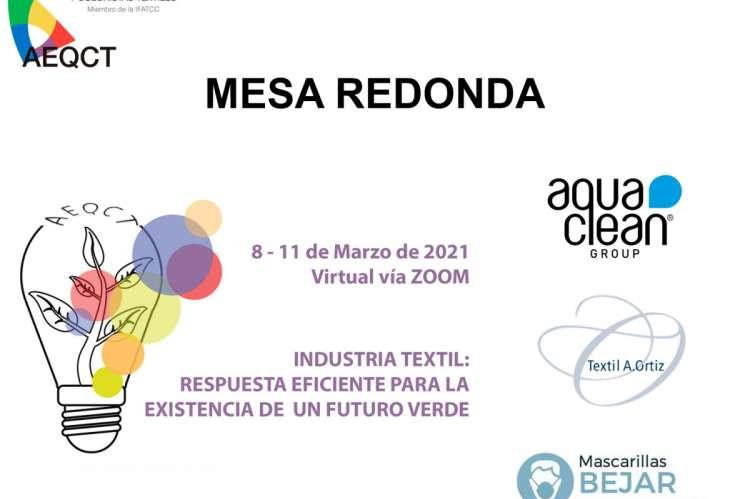 Cartel de la Mesa Redonda de la AEQTC - Por la existencia de un futuro textil verde