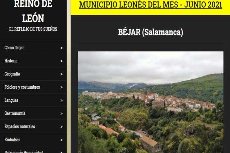Captura web de municipio del mes en la web Reino de León