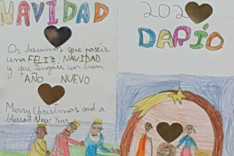 Postales navideñas de alumnos del Maria Auxiliadora para personas mayores