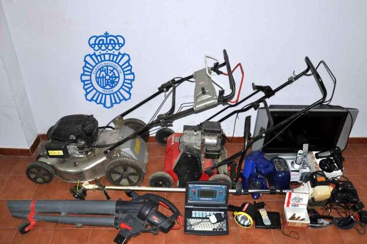 Objetos incautados por la Policía de Béjar