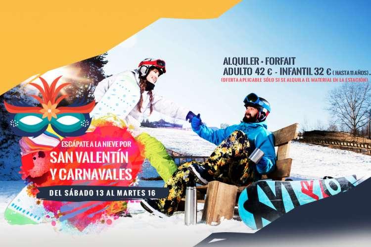 Cartel oferta de San Valentin en La Covatilla