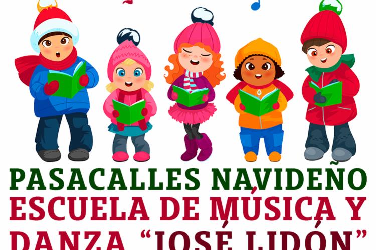 Vista parcial del  cartel que anuncia un Pasacalles Navideño