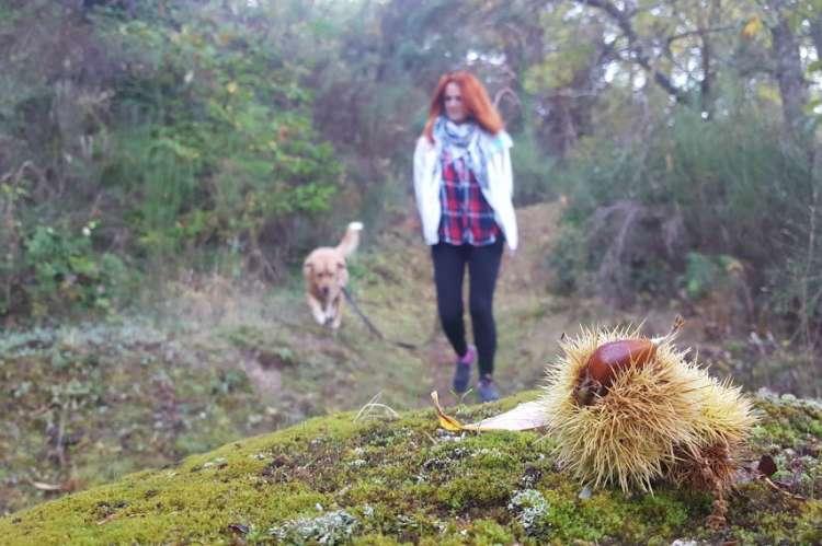 Mujer paseando a un perro por el entorno de Béjar. Archivo