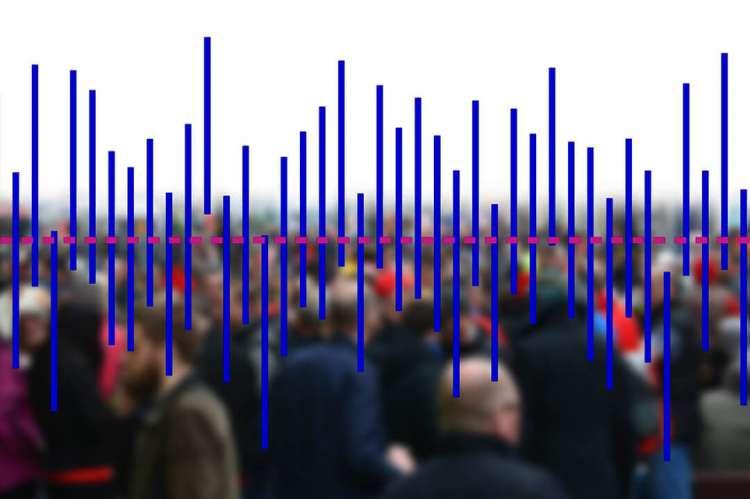 Un grupo de personas con gráfico superpuesto