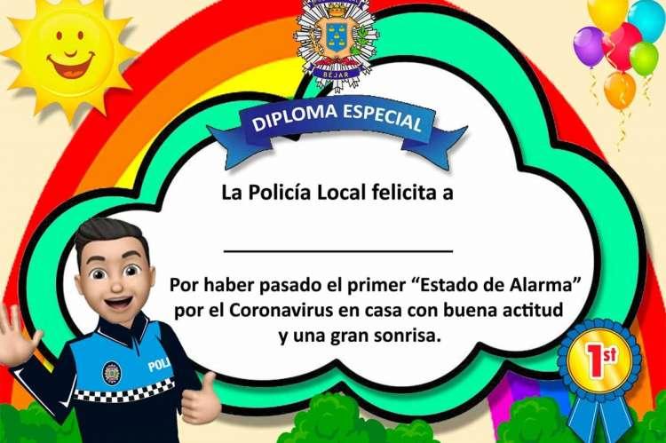 Diploma diseñado por la Policía Local de Béjar para los niños