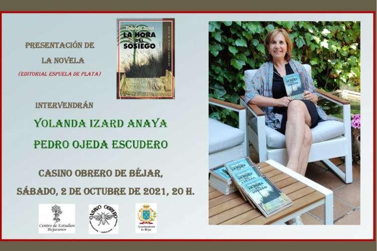 Composición con foto de la autora e información sobre la presentación