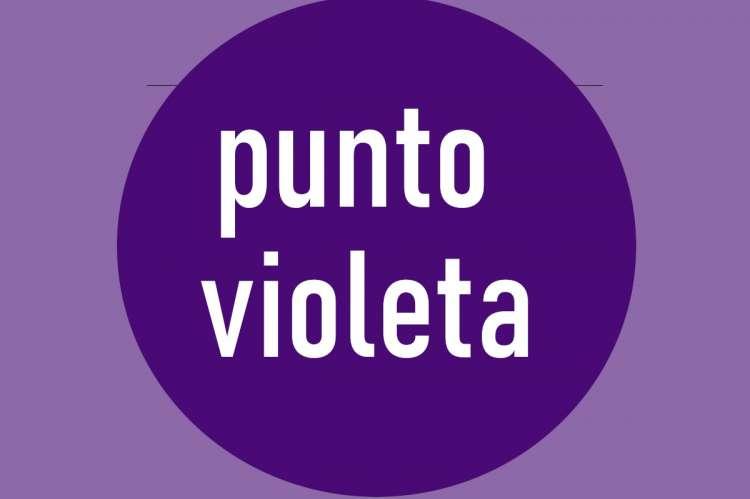 Circulo morado con el texto Punto Violeta