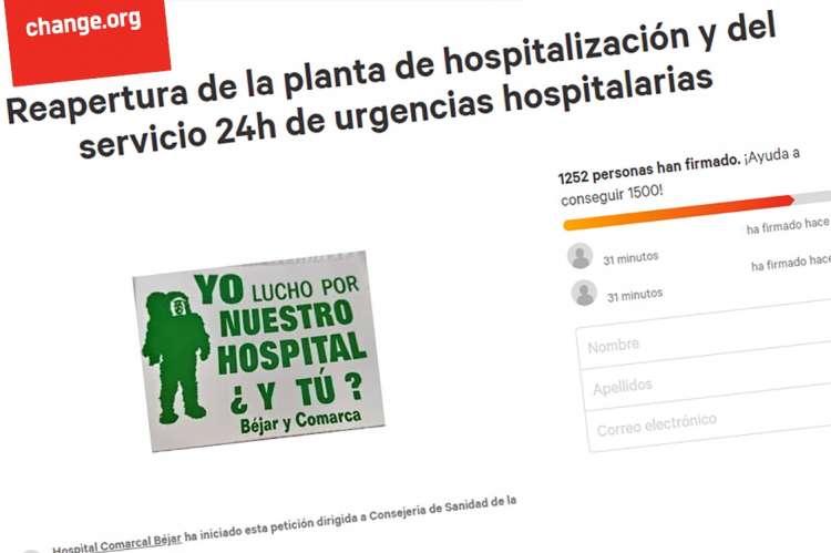 Pantallazo de la petición en la web change.org