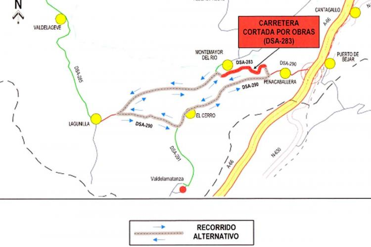 Imagen que indica el itinerario alternativo
