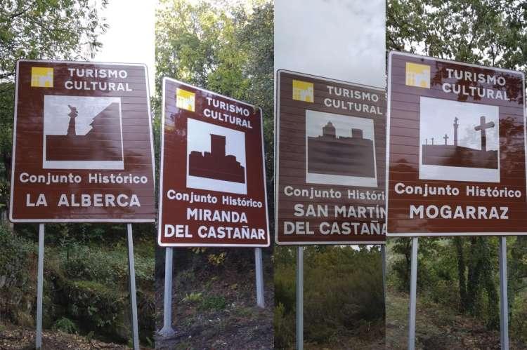 Algunos ejemplos de señalización a la entrada de municipios conjunto histórico en la Sierra de Francia