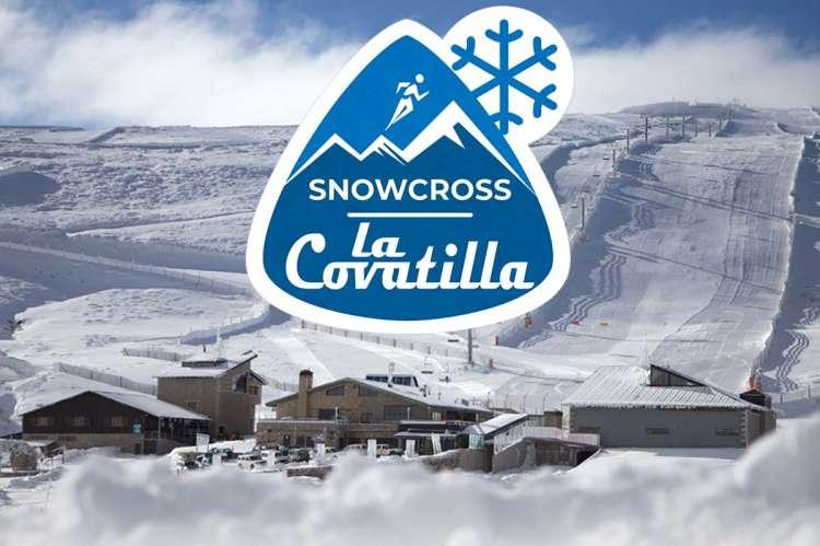 Vista de La Covatilla con el logotipo de la prueba encima