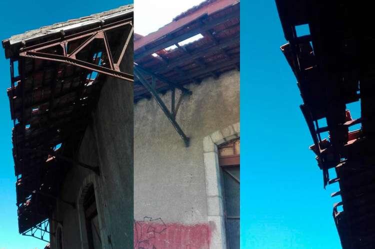 Estado de los tejados de los edificios de la antigua estación de trenes de Béjar
