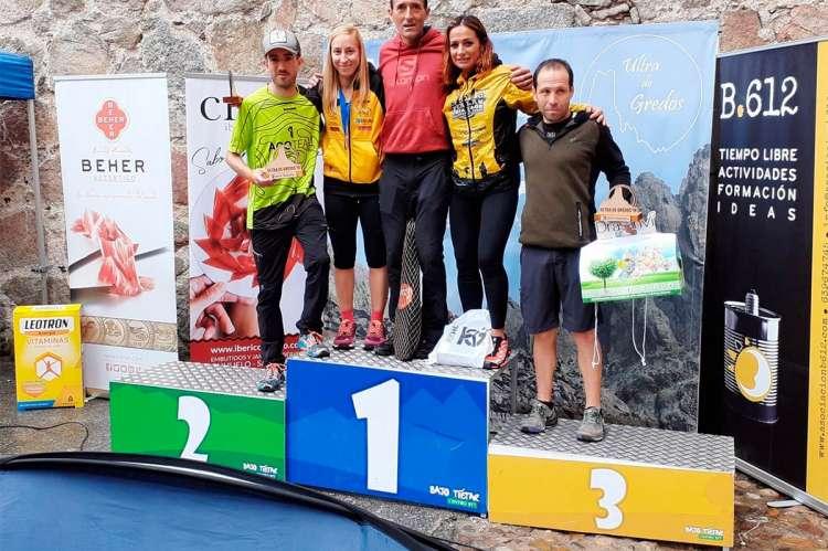 Ganadores de la carrera Ultra Gredos en el podium
