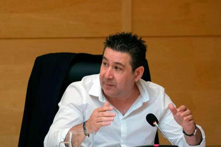 Luis Mariano Santos (UPL) durante su intervención en la comisión de Fomento el pasado 3 de junio 2020
