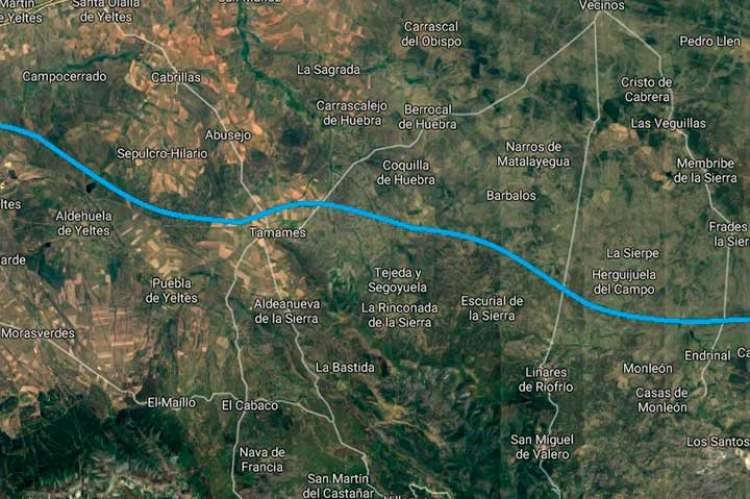 Mapa del posible trazado entre la A-66 y la A-62 entre Sancti Spiritus y Guijuelo