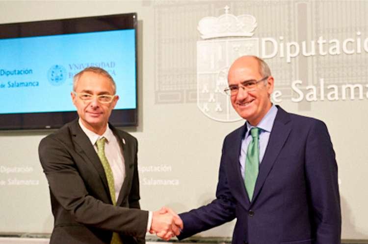El Rector de la Universidad de Salamanca, Ricardo Rivero, y el presidente de la Diputación de Salamanca, Javier Iglesias