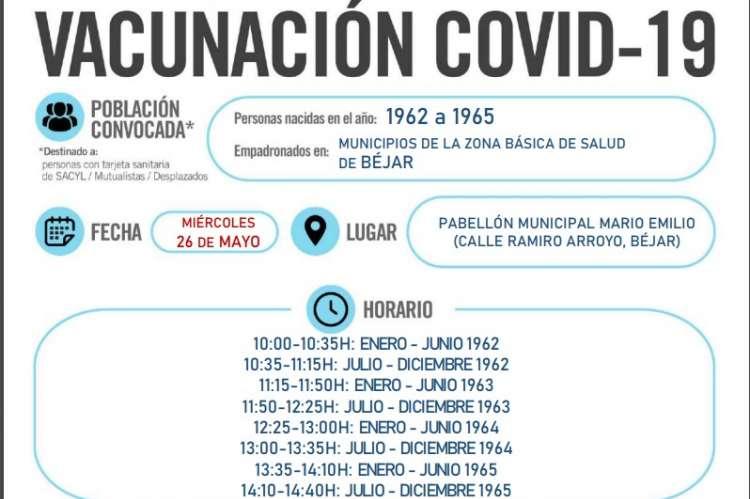 Cartel vacunacion miércoles 26 mayo Béjar