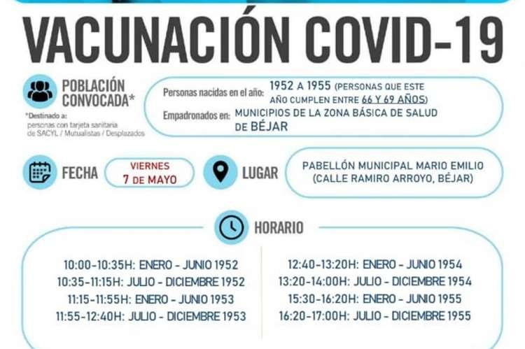 Cartel con fechas y horarios de la vacunación