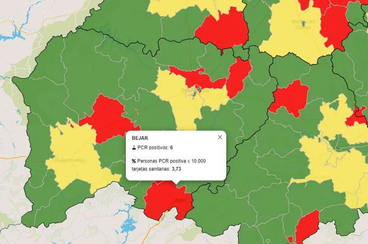 Mapa de las zonas de salud de Béjar con colores según situación epidemiológica