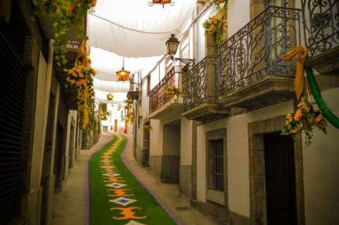 Calle Las Armas, ornamentada para el Corpus imagen distribuida por el PP de Béjar