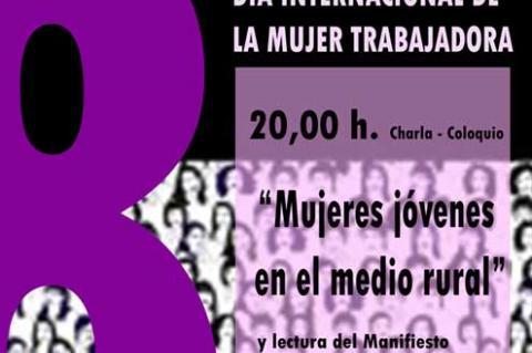 Cartel promocional charla Dia Internacional de la Mujer Trabajadora