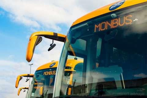 Vista parcial de varios autocares de la compañía Monbus