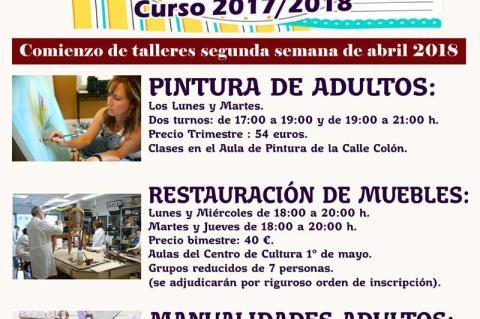 Cartel talleres municipales tercer trimestre 2017/2018
