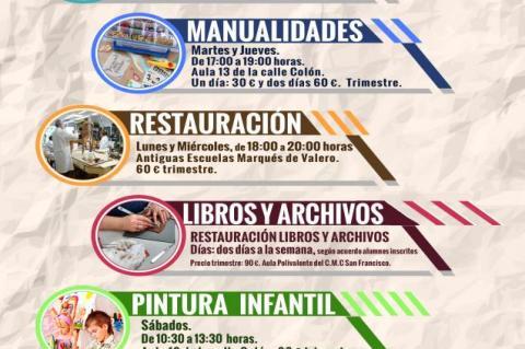 Cartel de los talleres municipales