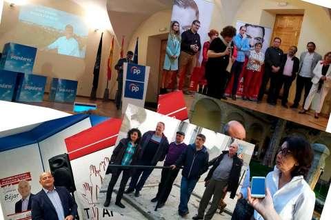 Collage con diferentes acciones de campaña de los partidos de Béjar