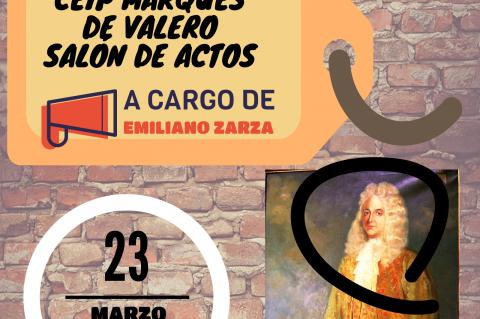 Cartel anunciador de la conferencia sobre Marqués de Valero