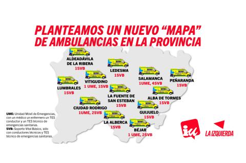 Mapa de ambulancias planteado por IU
