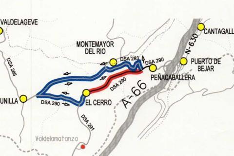 Mapa recorrido alternativo por obras DSA-290