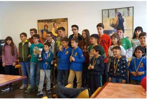Alumnos de la Escuela Municipal de Ajedrez