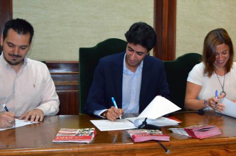 Patricia Valle, Ángel Orgaz y Óscar Mateos durante la presentación de la Ruta
