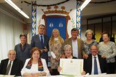 Mesa presidencial comida de convivencia Centro de Día con la presencia del Alcalde y concejala de Asuntos Sociales