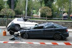 Choque de coches preparado para el simulacro