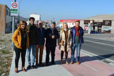 Alcalde de Béjar junto a varios concejales durante la inauguración del carril bici entre Béjar y Palomares de Béjar