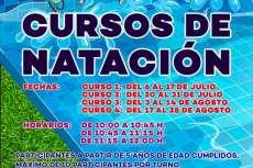 Cartel con horarios cursos de natación
