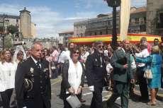 Alcaldesa, Elena Martín Vázquez, durante la procesión