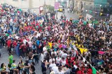 Peñas reunidas en la Plaza Mayor de Béjar