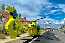 Helicóptero posado en carretera