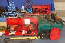 Herramientas usadas por los delincuentes detenidos