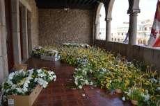 Balcón del ayuntamiento lleno de cestas decorativas para las calles de Béjar