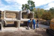 Obras del nuevo puente en Santibañez de Béjar