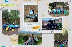 Collage de fotos de niños durante la actividad