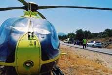 Helicóptero del SACyL en el lugar del accidente